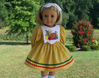 "Embroidered Autumn Dress / Doll Clothes for American Girl® Kit, Melody, Maryellen or Other 18"" Doll"