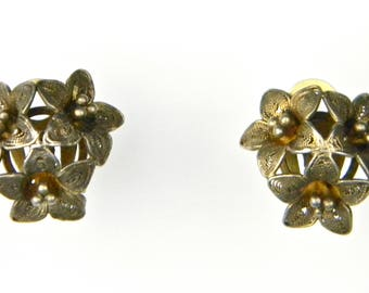 Gorgeous Pair of Vintage Patinated Brass Cannetille 'LILY BOUQUET' Clip Earrings, Circa 1930s