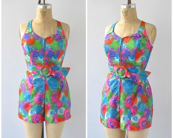 Vintage 60s Bathing Suit | 1960s Psychedelic One Piece Swimsuit | Jay Hart Originals | Psychedelic, Go Go, Mod | Size Small