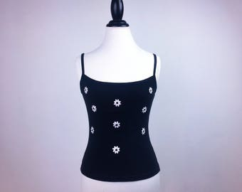 90's Black and White Embroidered Daisy Tank Top // M - L
