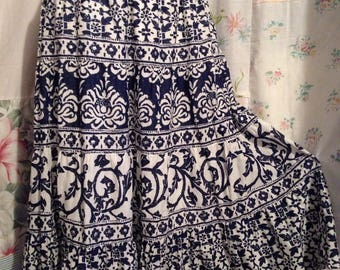 LARGE, Skirt, Bohemian Hippie Indie Boho Tiered Navy Blue White Cotton Skirt