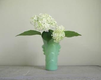 Art Deco Jadeite Vase ,  Mid Century Jadite Flower Vase , Fire King Jadeite Vase , Collectible Jadeite , Vintage Home Decor