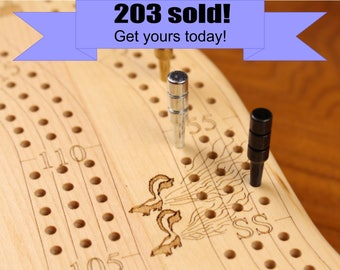 Premium Quality Cribbage Board, 3 Player, Solid Wood, Laser Engraved, Wooden Gifts, Games, Two Tier Maple Top/Cherry Bottom,  Paul Szewc
