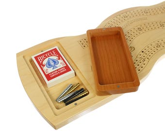 "3 Player Cribbage, Jumbo, Wall Mount, 27 3/4"" x 8 1/2"", Metal Pegs, Laser Engraved, Wooden, Games, Paul Szewc"