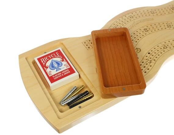 "3 Player Jumbo Deluxe Wall Mount Cribbage Board, 27 3/4"" x 8 1/2"", Metal Pegs, Laser Engraved, Wooden, Games, Paul Szewc"