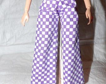 Fashion Doll Coordinates - Purple & white checked wide legged pants - es427