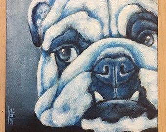 Bulldog Original Acrylic Painting 6x6 canvas panel  Dog Art Pet Lover Dog Art Pet Art