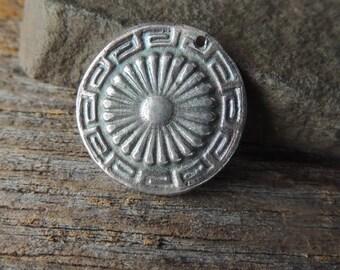 30% OFF Handmade Silver, Silver Pendant, Statement Pendant, Rustic Handcrafted, Aztec Design, Southwest Silver Pendant, Artisan Jewelry, Fin