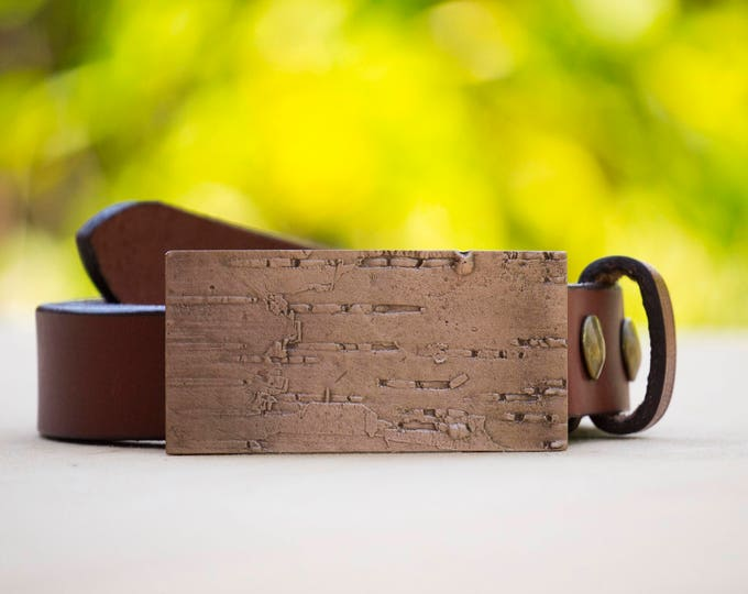 "Birch 1.5"" Bronze Belt Buckle and Top Grain Leather Strap"