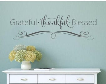 20% OFF Grateful Thankful Blessed- faith Vinyl Lettering wall decal words decal family custom graphics decals bedroom Home decor itswritten