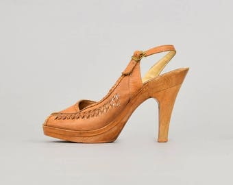 70's RAPALLO Braided Leather Platforms (US 9)