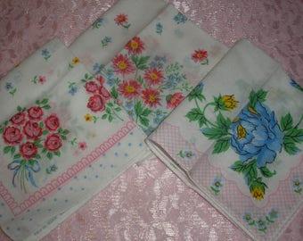 Estate;Three Cotton Pink Blue Floral Hanky Handkerchief