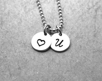 Love U Necklace, Sterling Silver, Personalized Heart Necklace, Letter U Necklace, All Letters Available, Hand Stamped Jewelry, Initial