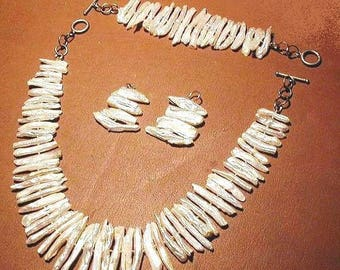 "White Biwa Pearl Necklace Set ~ Luscious Large White Biwa Pearls ~ Free Shipping ~ ""TAKE 20"" Off Purchase"