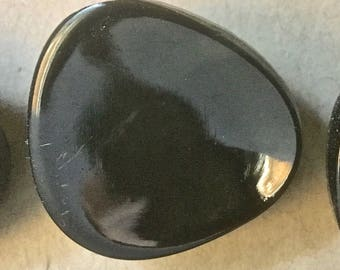 12 Vintage Triangular Cupped Black Glass Buttons for Crafts and Sewing