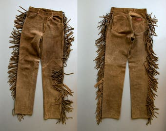 Vintage 1970's Light Brown Suede Leather Fringe Pants / Disco / Cowboy Cowgirl Glam / 27 x 33