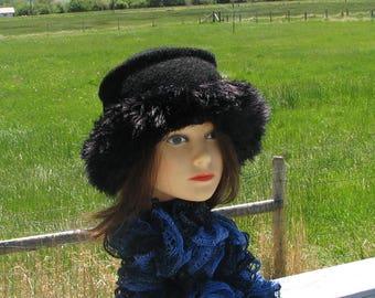 Knit Felt Black on Black Wool Fur Trim Hat  Crusher