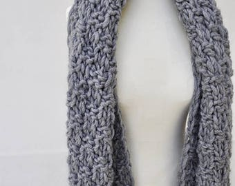Super Chunky Oversized Grey Knit Scarf With Tassels - Ready To Ship