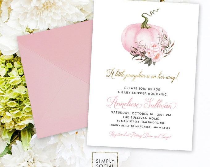 Pink Pumpkin Baby Shower Invitation - It's a Girl Watercolor Pumpkin Baby Shower Pink Peony Little Pumpkin is on the way Printable
