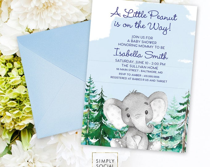 Blue Elephant Baby Shower Invitation - It's a Boy Winter Conifer Tree Pine Tree Elephant Modern Baby Shower Little Peanut Printable Baby Boy