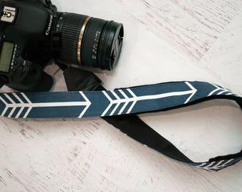 Blue Camera Strap - Padded Camera Straps - Gifts for Photographer Birthday - DSLR Camera Strap - Nikon Strap - Binocular Strap - Navy Arrow