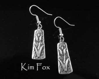 Tulip Earrings in Sterling Silver and Golden Bronze designed by Kim Fox
