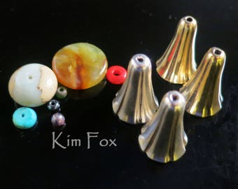 Large Bell Flower Cones in Sterling Silver or Golden Bronze designed by Kim Fox