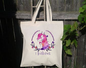 Personalized Unicorn Bag, Mystical Unicorn, Slumber party gift, Canvas Tote, Sleep Over