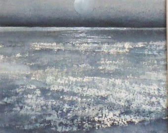Original watercolour painting full moon and sparkling ocean midnight sea