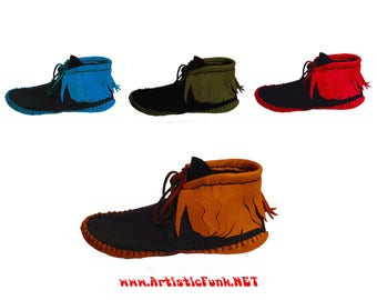 Moccasins, Inca Style Leather Moccasins, Ankle Moccasins, Womens Short Moccasins, Fringed Moccasins, Festival Shoes, Funky Hippie Moccasins
