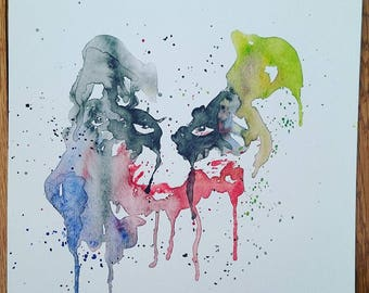 "The Joker watercolor painting (8""x8"")"