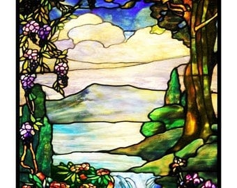 FALL SALE Digital DOWNLOAD Louis Comfort Tiffany's Landscape With a Waterfall Counted Cross Stitch Chart / Pattern