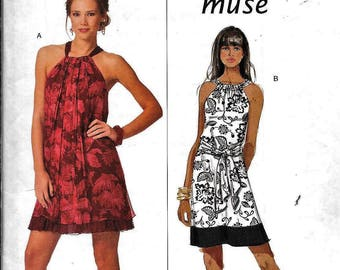 Butterick B5177 Misses' Summer Sleeveless Dress With Drawstring Neckline Sewing Pattern UNCUT Plus Size 14, 16, 18, 20