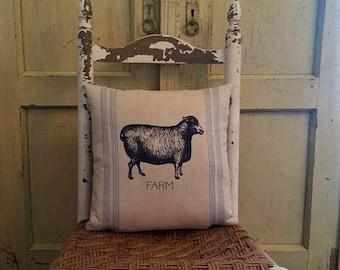 Sheep pillow,Farm animal pillow, Farmhouse decor