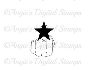 ADULT F**k You Middle Finger Digital Stamp Image