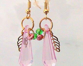 Earrings, Pink Prism Earrings, Drop Earrings, Pink Prisms Drop Earrings, Dangle Earrings