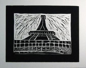 Eiffel Tower Art - Eiffel Tower linocut print -  Black and White Eiffel Tower Linocut -