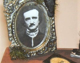 Dollhouse Miniature Art Edgar Allen POE Picture BOOK and RAVEN Bird Halloween Painting
