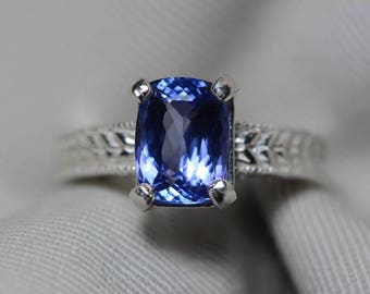 Tanzanite Ring, 3.35 Carat Tanzanite Solitaire Ring, Sterling Silver, Certified, Cushion Cut, Size 7, Real Genuine Natural Blue Tanzanite