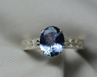Tanzanite Ring, 2.44 Carat Tanzanite Solitaire Ring, Sterling Silver, Certified, Oval Cut, Real Genuine Natural Tanzanite Jewellery, Size 7