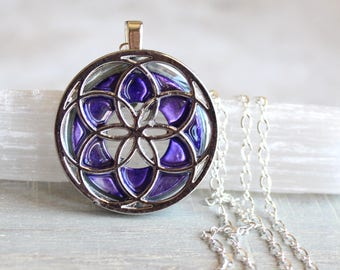 purple seed of life necklace, sacred geometry, spiritual jewelry, meditation jewelry, chakra necklace, yoga jewelry, unique gift