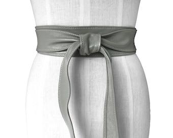 Gray obi belt - Leather Wrap Belt - Soft Leather Tie Belt - Women Leather Belts - Leather Obi Belt - Wide Leather Belt - Coat belt Grey Ella