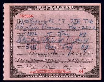 11/22 11/23 1932 Rooney Liz Whiskey TID Prohibition Medicine Prescription Doctor Hull Antique Pharmacy Speakeasy Troy NY New York Bar