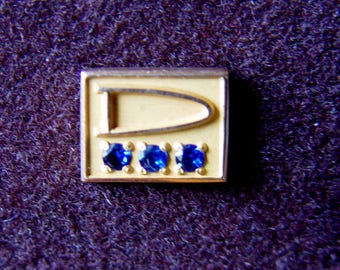 Vintage 10K Gold Tie or Lapel Pin Signed gTo  Letter D