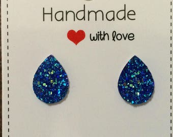 Blue Druzy Teardrop Stud Resin Earrings