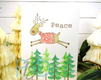 Peace Christmas Card with Reindeer