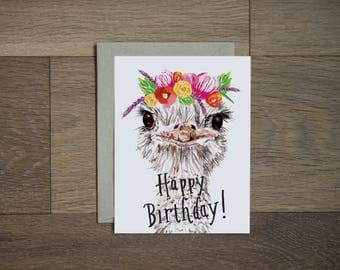 Happy Birthday card - ostrich card - illustration - flower art - hand lettering