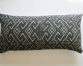 Gray Vietnamese Wedding Blanket Large Lumbar Pillow Cover - Vintage Throw Pillow