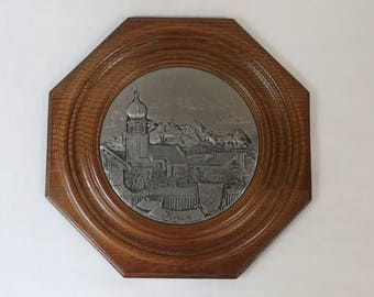 Vintage Pewter and Wood Wall Plaque of Krun, Germany. Hand made. Echt Zinn Relief.