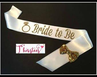 White and Gold bride to be sash more colors too bride sash mint and gold theme mint and gold theme party sash bridal shower sash bachelorett